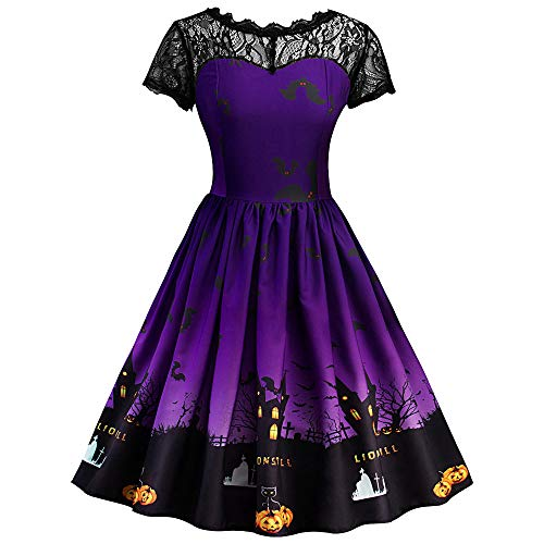 ThsiJJ Women's Halloween Night Printed Dress Lace Hollow Retro Gown Short Sleeve Masquerade Cocktail Swing Dress Purple -