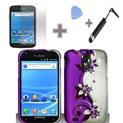 (4 Items Combo : Case - Screen Protector Film - Case Opener - Stylus Pen) Rubberized Purple Silver Vines flower Snap on Design Case Hard Case Skin Cover Faceplate for Samsung Hercules T989 Galaxy S2 (T-Mobile)
