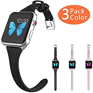 HALIS Slim Watch Band 42mm 44mm Narrow Watch Strap Compatible Sport Wristband Replacement for Apple Watch iWatch Series 4 3 2 1 (3pack-sw-42-44)