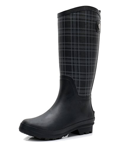 Women's Wellington Lightweight Rain Boots Original Tall Rubber Boots Wide Calf Waterproof Galoshes (US 8, Plaid) ()