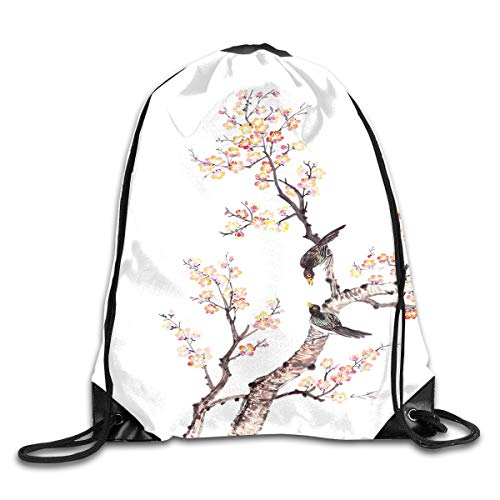 (Drawstring Backpacks Bags,Traditional Chinese Paint Of Flowers Plum Blossom Birds On Tree Romance Print,5 Liter Capacity,Adjustable)
