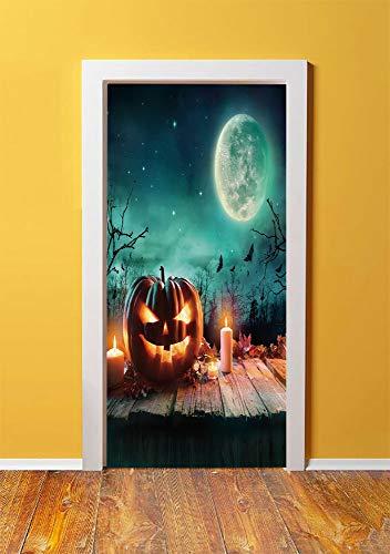 (Halloween 3D Door Sticker Wall Decals Mural Wallpaper,Fantastic Magic Night Spooky Atmosphere Candles Pumpkin on Wooden Planks Print,DIY Art Home Decor Poster Decoration)