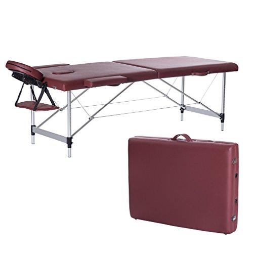 Water-chestnut Portable Folding Massage Table 2 Fold Aluminum Alloy Frame (Wine Red)