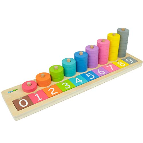 Bimi Boo Wooden Counting Game for Kids, 0-9 Colorful Number Stacker Board, 45 Stacking Rings Baby - Early Learning Wood Toys for Toddlers 3 Year Old