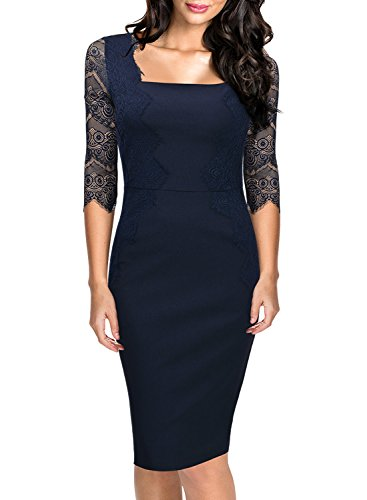 Missmay Women's Vintage 3/4 Sleeve Navy Blue Lace Retro Evening Party Dress