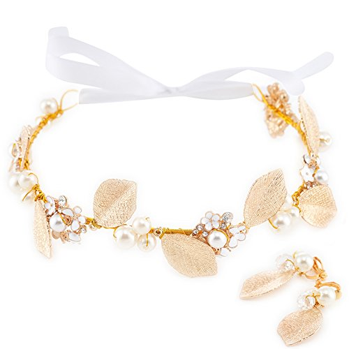 (Bridal Wedding Gold Headband Handmade Elegant Metal Leaves Flowers Headpiece Rhinestone and Artificial Pearls Decor Hair Vine Women Tiaras Headdress )