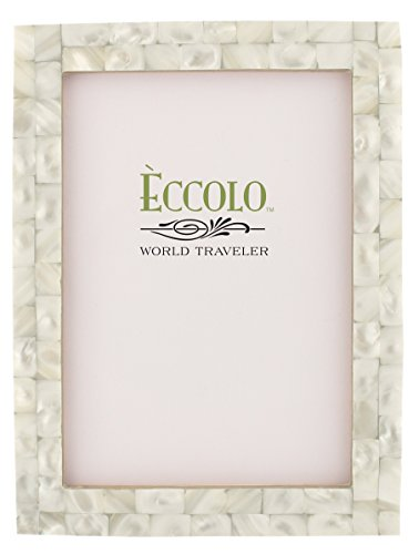 Eccolo Naturals Frame, 4 by 6-Inch, Mother of Pearl White
