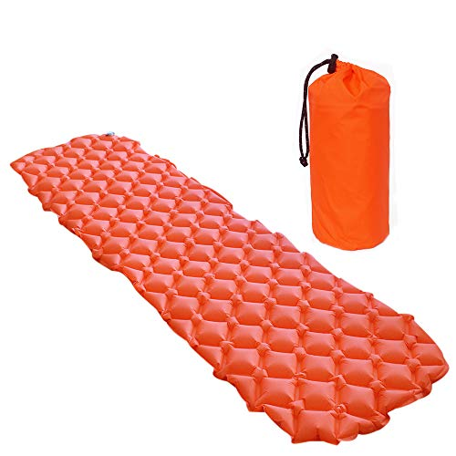 Mockins Orange Inflatable Lightweight Sleeping Pad The Air Camping Mat is Great for Backpacking Traveling and Hiking with Added Comfort Air Cell Design ...