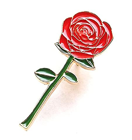 Brand New Romantic Long Stem Red Rose Enamel Pin (Button Pins Beyonce)