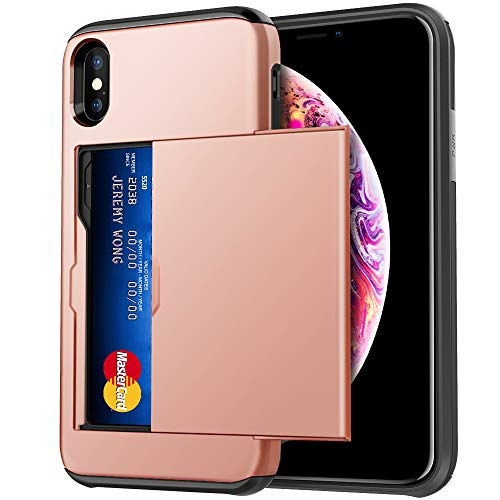 Hython Case for iPhone 10/X/XS 5.8-Inch, Slim Dual Layer Wallet Case with Sliding Card Slot Holder Drop Protection Anti-scratch Hybrid Soft Rubber Hard Shell Bumper Cover for iPhone 10/X/XS, Rose Gold