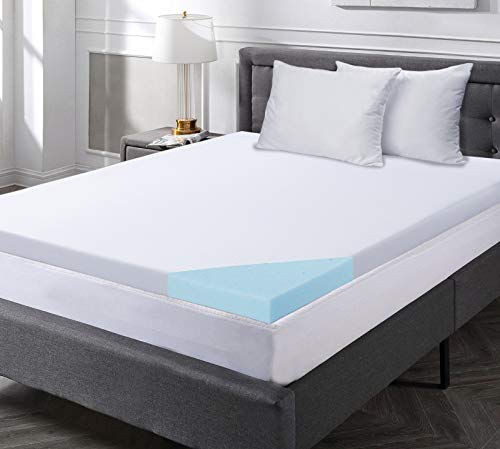 Comfort Relax 2 Inch Gel-Infused Memory Foam Mattress Topper, Plush Cover, AirCell-Tech, Queen