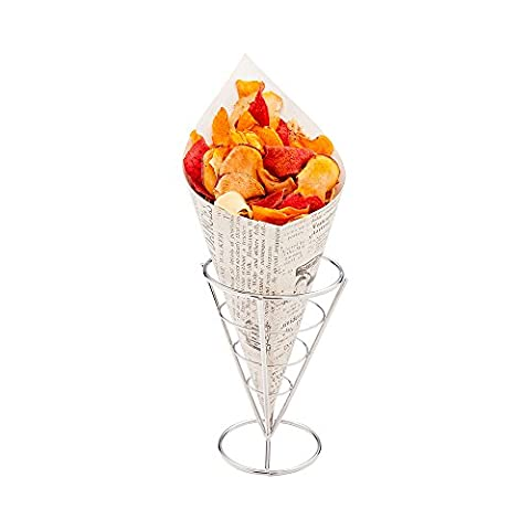 Conetek 11.5-Inch Eco-Friendly Finger Food Cones: Perfect for Appetizers – Food-Safe Paper Cone with Newsprint Styling – Disposable and Recyclable – 100-CT – Restaurantware