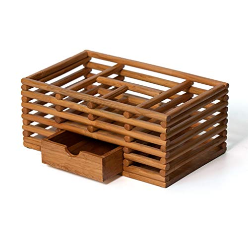 Gang Home Drawer Cosmetic Storage Box Wooden Makeup Brush Finishing Box Desktop Jewelry Skin Care Product Separation Dressing Box (Color : Wood Color, Size : (Textured Rack Drawer)