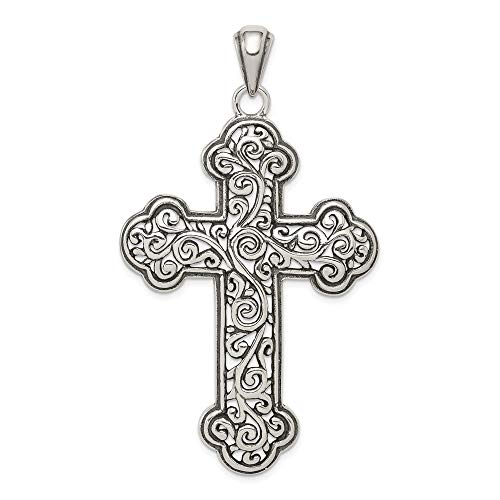 Cross Charm Swirl Small - 925 Sterling Silver Swirl Cross Religious Pendant Charm Necklace Budded Fine Jewelry Gifts For Women For Her