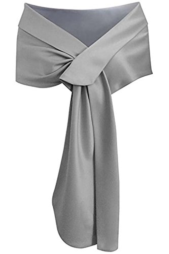 Meet Edge Women's Satin Shawl Wrap For Evening/Wedding Party Silver, Silver Gray, 59