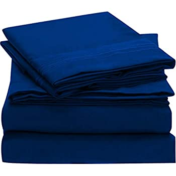 Mellanni Bed Sheet Set Brushed Microfiber 1800 Bedding - Wrinkle, Fade, Stain Resistant - Hypoallergenic - 4 Piece (Full, Imperial Blue)