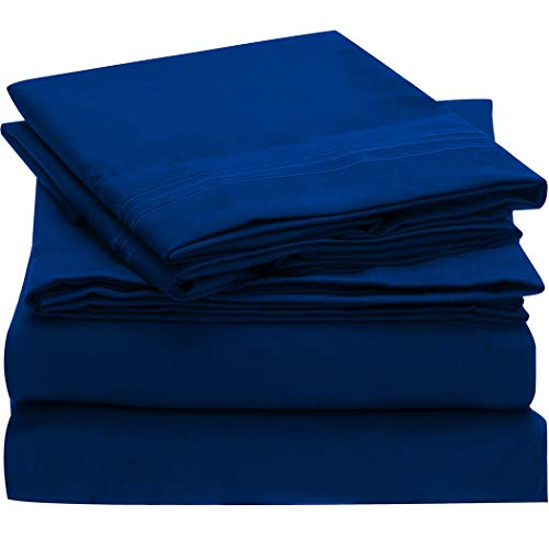 Mellanni Bed Sheet Set Brushed Microfiber 1800 Bedding - Wrinkle, Fade, Stain Resistant - Hypoallergenic - 4 Piece (Cal King, Imperial Blue) (Difference Between King And California King Bed Sheets)