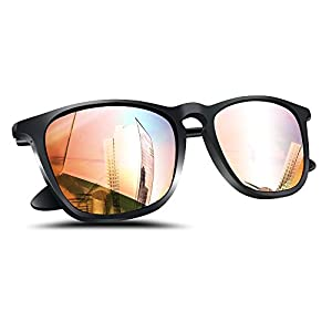 Polarized Wayfarer Sunglasses, Women Pink Mirror Square Shades by Wenlenie Lightweight Sunglasses