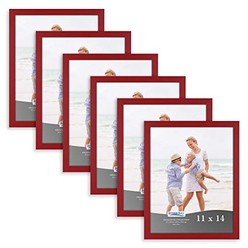 Icona Bay 11x14 Picture Frame (6 Pack, Red), Red Sturdy Wood Composite Photo Frame 11 x 14, Wall or Table Mount, Set of 6 Exclusives -