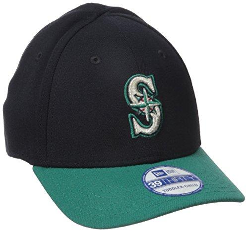 New Era MLB Seattle Mariners Junior Team Classic Alternative 39Thirty Stretch Fit Cap, Blue, Toddler/Child (New Era 39thirty Mariners)