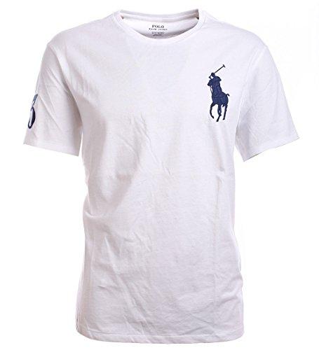 (Polo Ralph Lauren Mens Crew Neck Big Pony T-Shirt (L, White))