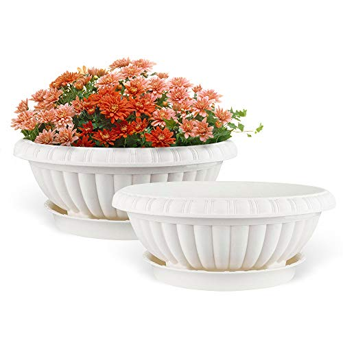 Plastic Round Planter (Mkono 2 Pack Plastic Planter Bowl 12 Inches Plant Pots with Saucers, Beige)