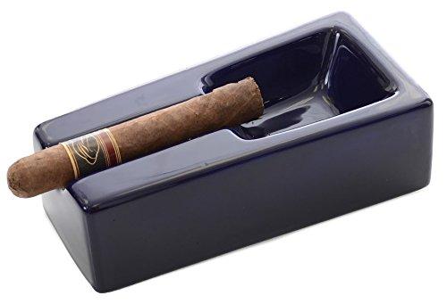 Mantello Deep Blue Ceramic Cigar Ashtray