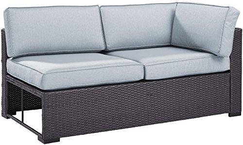 Crosley Furniture KO70129BR-MI Biscayne Outdoor Wicker Single-Arm Loveseat, Brown with Mist Cushions (Mist Loveseat Patio)