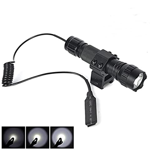 1 Set (1Pc) Garnished Fashionable 2500 Lumen 5-Modes LED Flashlight Remote Light Military Grade Waterproof Zoomable Police Torch Color Black with Mount and Pressure Switch