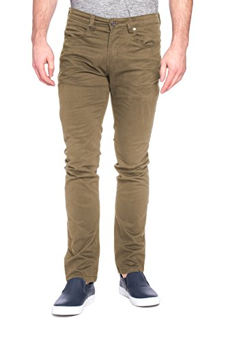 paperdenim&cloth Mens Designer 5 Pocket Stretch Fitted Skinny Twill Chino Pants - American Khaki, 32/30 (Any Day Chino Pants)