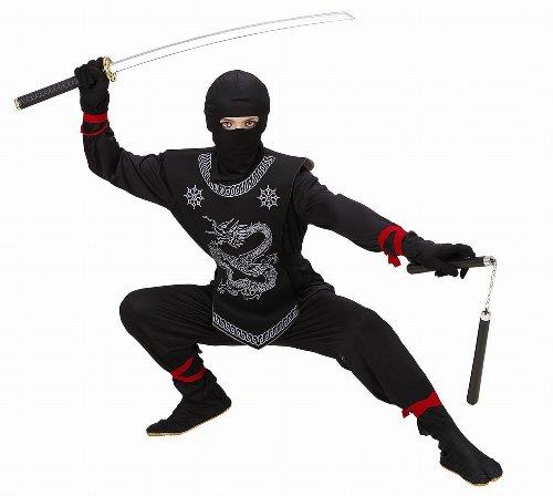 Widmann 74526 - Kinderkostüm Black Ninja, Anzug und Maske, Größe 128