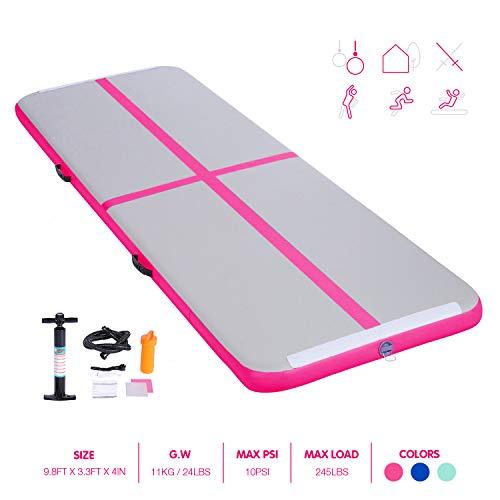 BATURU Inflatable Air Track Gymnastic Tumble Track Air Mat, 9.8 ft Air Floor w/Hand Pump for Home Use, Training, Cheerleading, Yoga, Taekwondo (Pink, 9.8 ft x 3.3 ft x 4 inch)