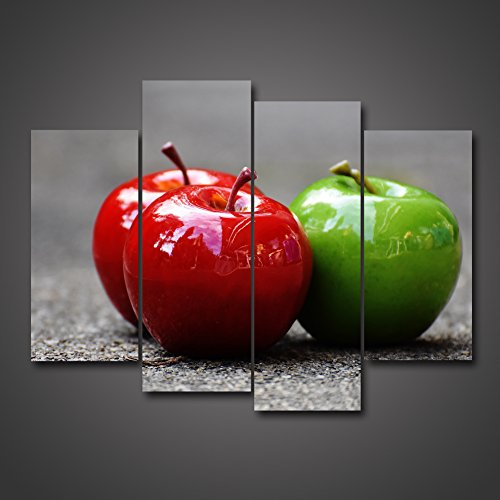 (4 Panel Picture On Canvas Wall Artwork One Green Apple And The Other Red Two On The Ground Still Life Colorful Fruit Giclee Painting HD Print Gallery Gift Set Photo Home Decoration by uLinked Art )