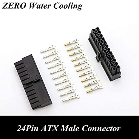 Computer Cables 4.2mm 5557 CPU 24Pin ATX Male Connector with 25pcs Terminal pins for PC Modding Cable Length: White-Gold Plated