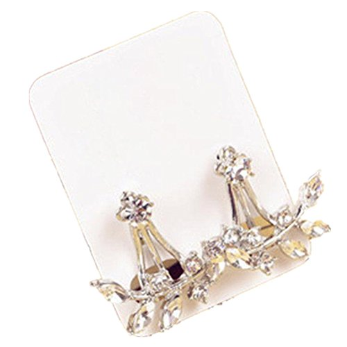 Ownsig 1 Pair Stylish Rhinestone Leaf Double Sided Dangle Studs Earrings Silver