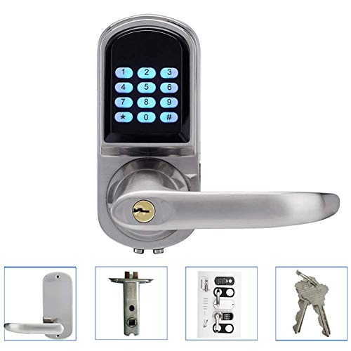 Keyless Smart Lock, Keyless Digital Door Lock Electronic Security Entry Passcode + Card + Key Suitable for Home Offices, Hotels, Vacation Homes (Left Handle)