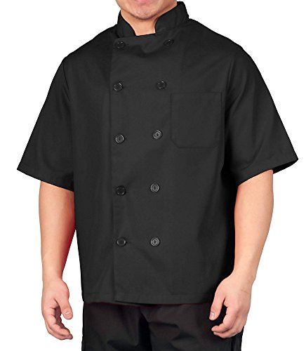 Chef Coat Jacket Uniform (KNG Black Lightweight Short Sleeve Chef Coat)