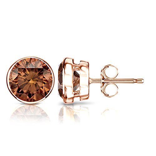 Diamond Wish 14k Rose Gold Round Brown Diamond Stud Earrings 1 4cttw Brown Si1 Si2 Bezel Set Push Back Buy Online In Dominica At Dominica Desertcart Com Productid 12194783