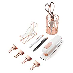 U Brands Desktop Accessory Kit, Office Supplies Set, Rose Gold, 10-Count