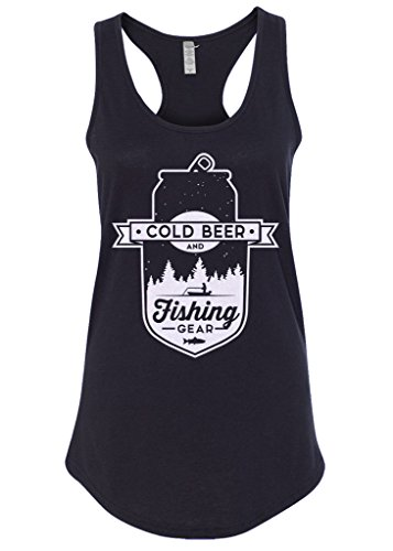 Mixtbrand Women's Cold Beer And Fishing Gear Racerback Tank Top L Black