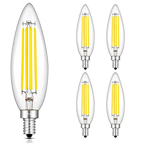 (CRLight 8W 4000K LED Candelabra Bulb Daylight (Neutral White) 800LM Dimmable, 80W Incandescent Equivalent, Replace 16W Compact Fluorescent CFL Bulbs, E12 Base Lengthened B11 Candle Torpedo, Pack of 4)