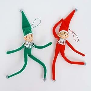 Nostalgic CHRISTMAS ELVES ELF Figurines Bendable Ornaments Retro Christmas