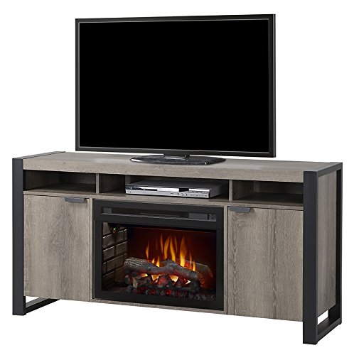 Dimplex Pierre Electric Fireplace TV Stand with Logset in Steeltown by Dimplex