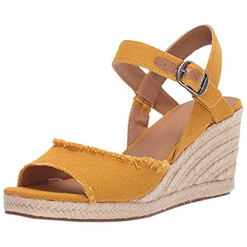 Women's Platformed Wedge Sandals Casual Sandals Shoes Summer Ankle Buckle Open Toe Wedges Heels Adjustable Yellow -