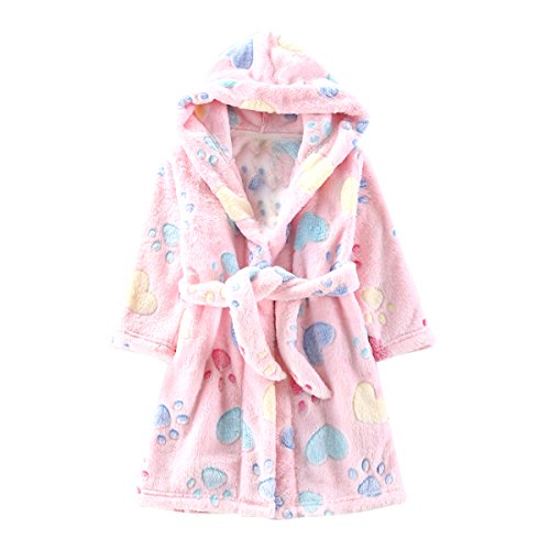 Toddlers/kids/baby Soft Fleece Bath Robe Children Pajamas Sleepwear With Hood (3T, Pink)