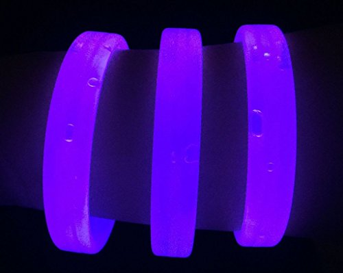 "Glow Sticks Bulk Wholesale Wristbands, 25 9"" Purple Triple-wide Glow Bracelets, Bright Color, Glow 8-12 Hrs, 25 Connectors Included, Glow Party Favors Supplies, Sturdy Packaging, GlowWithUs Brand"