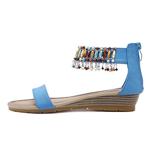Ruiren Bohemian Sandals for Women, Summer Slope Sandals Flat Shoes for Ladies Blue