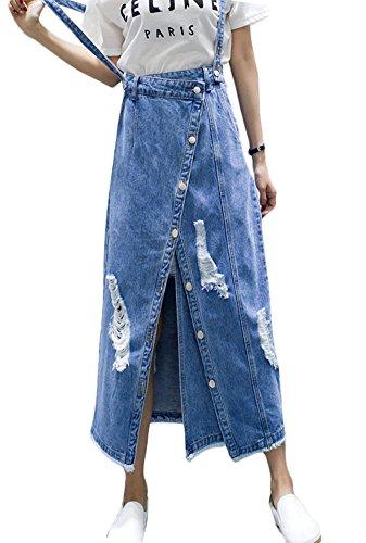 Plaid&Plain Women's Irregular Ripped Distressed Denim Suspender Maxi Skirt Overall Blue 12