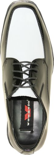 VANGELO Men Tuxedo Shoe TUX-7 Two-Tone Color Fashion Moc Toe with Wrinkle Free Material Black&White Patent PxBlsZ1h