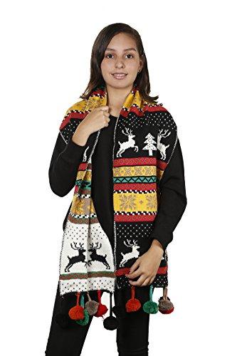 Womens Christmas Tree Reindeer Snowflake Reversible Knit Wraparound Scarf Shawl (Black Pom Poms) (Ugly Christmas Scarf)